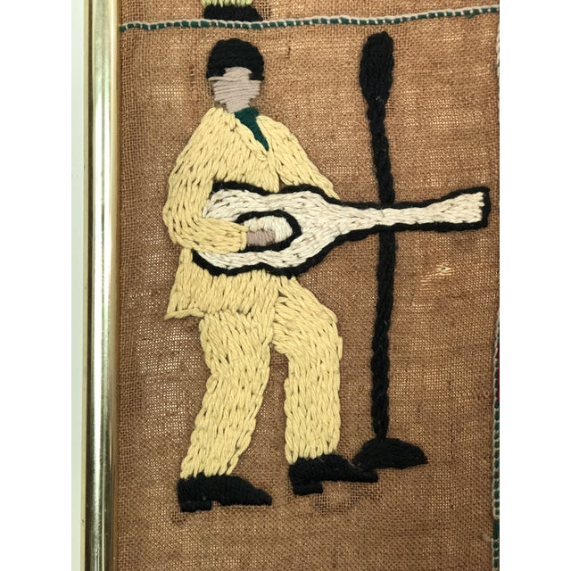 Textile Mid-Century Embroidered Tapestry of Musicians For Sale - Image 7 of 13