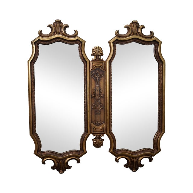 Vintage Hollywood Regency Gold Two-Piece Mirror For Sale