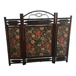 Antique Bamboo Fireplace Screen