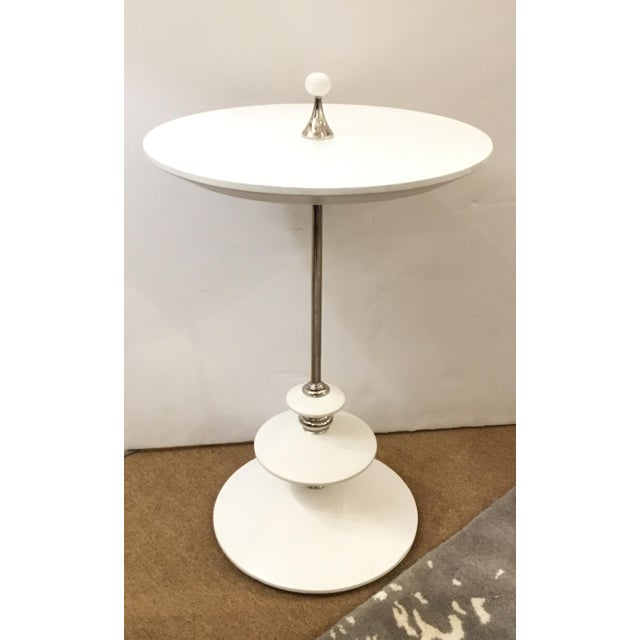 2010s White and Chrome Modern Caracole Side Table For Sale - Image 5 of 5