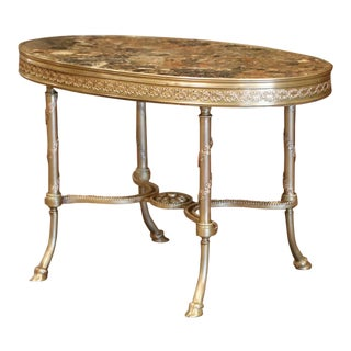 19th Century French Louis XVI Gilt Bronze Oval Low Table With Marble Top For Sale