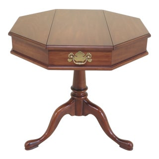 1980s Queen Anne Henkel Harris Octogonal Cherry Jefferson Table For Sale
