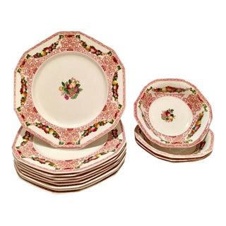 "Antique England Ironstone China ""Lawton"" Dinnerware - Set of 13"