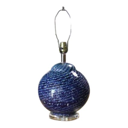 Large Blue Art Glass Globe Table Lamp For Sale