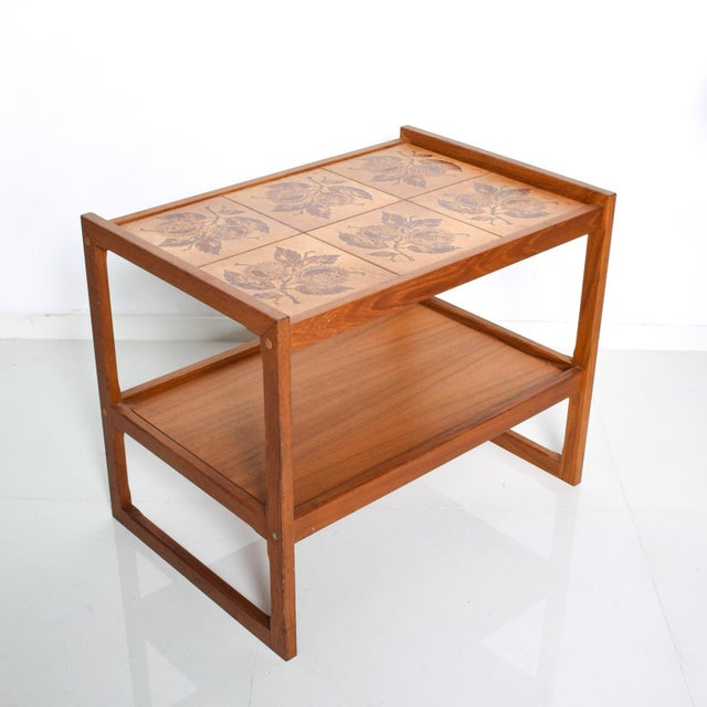 Mid-Century Danish Modern Teak and Tiles Service Table Bakery Bar Trolley For Sale - Image 10 of 12
