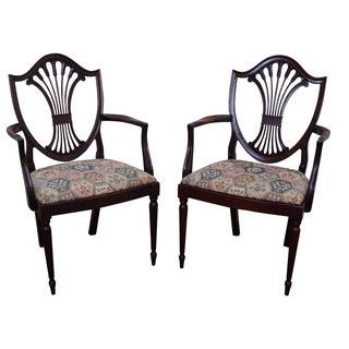 Charak Mahogany Federal Shield Arm Chairs - Pair