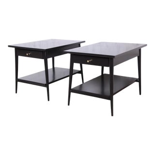 Paul McCobb Planner Group Black Lacquered Nightstands or End Tables, Newly Restored - a Pair For Sale