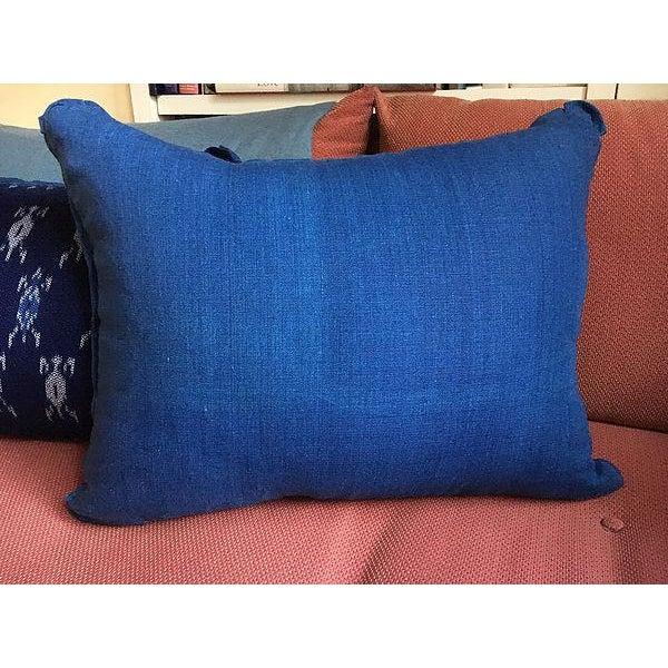 Indigo Ikat Laos Textile Pillow For Sale - Image 4 of 5