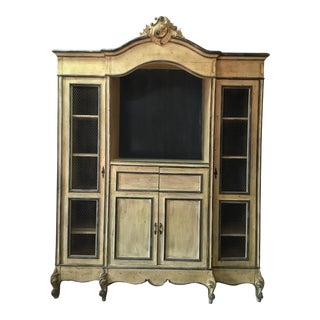 French Carved Center Crown Armoire