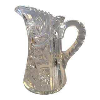 Libby American Brilliant Intricate Cut Crystal Water Pitcher For Sale