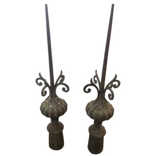 Pair of Tall Iron Finials as Found Art Sculpture For Sale