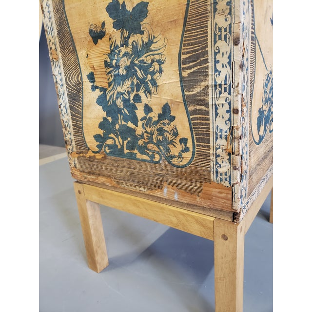 Antique Japanese Tea Crate on Stand Side Table For Sale - Image 9 of 13