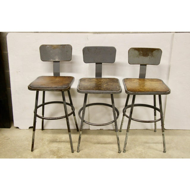 Brown Industrial Lab Stools, S/3 For Sale - Image 8 of 8