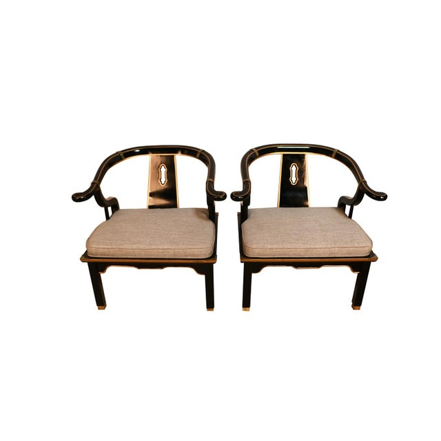 An absolutely attractive pair of Chinese style horseshoe chairs by the very talented company, Century Furniture. Designed...