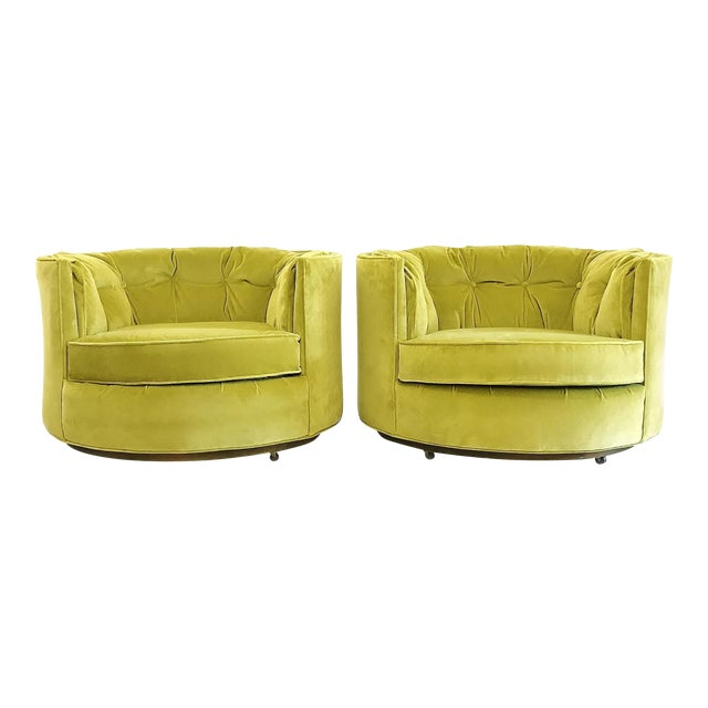 Vintage Chartreuse Velvet Club Chairs - a Pair For Sale