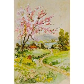 Miniature Landscape Watercolor Painting For Sale
