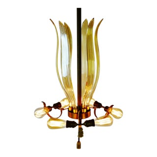 Art Deco Venetian Glass and Brass 7 Light Chandelier For Sale