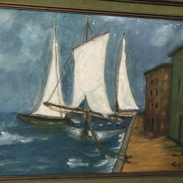 Paint Vintage Twilight Sailboat Painting For Sale - Image 7 of 10