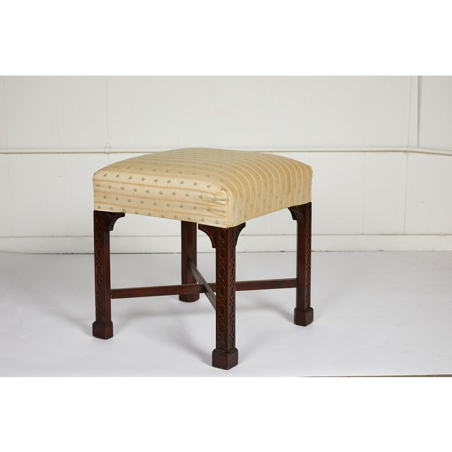 English Chinese Chippendale Style Mahogany Stool For Sale - Image 13 of 13