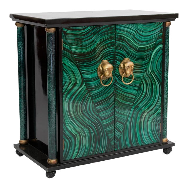 Art Deco Faux Malachite Cabinet For Sale