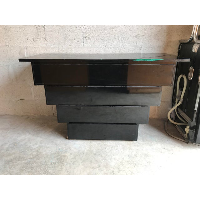 1990s Art Deco Revival Black Lacquer Credenza Server For Sale - Image 5 of 5