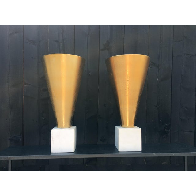 Gold Metal Vases on Marble Bases - a Pair For Sale - Image 13 of 13