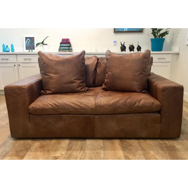 Modern Restoration Hardware Cloud Brown Leather Loveseat For Sale - Image 9 of 9