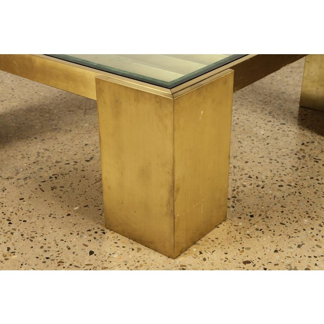 Mid-Century Modern Square Bronze and Glass Coffee Table For Sale - Image 3 of 5