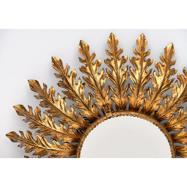 Spanish Vintage Sunburst Mirror With Backlight For Sale - Image 4 of 10