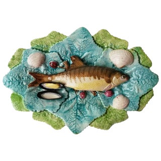 19th Century Majolica Palissy Choisy Le Roi Wall Fish Platter For Sale