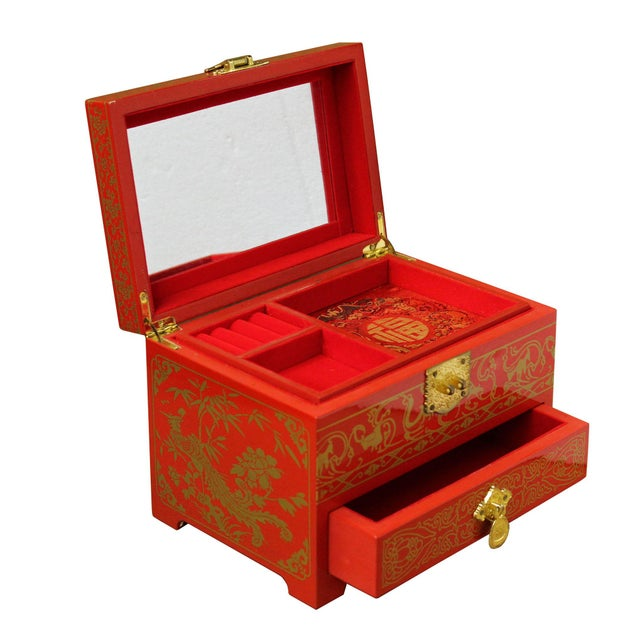 Asian Chinese Oriental Lacquer Mirror Jewelry Chest Box For Sale - Image 3 of 7