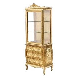 1960s Boho Chic Gold Florentine Vitrine For Sale
