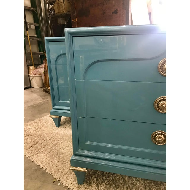 Wood 1970s Mid-Century Modern Mastercraft Sky Blue Chests - a Pair For Sale - Image 7 of 9