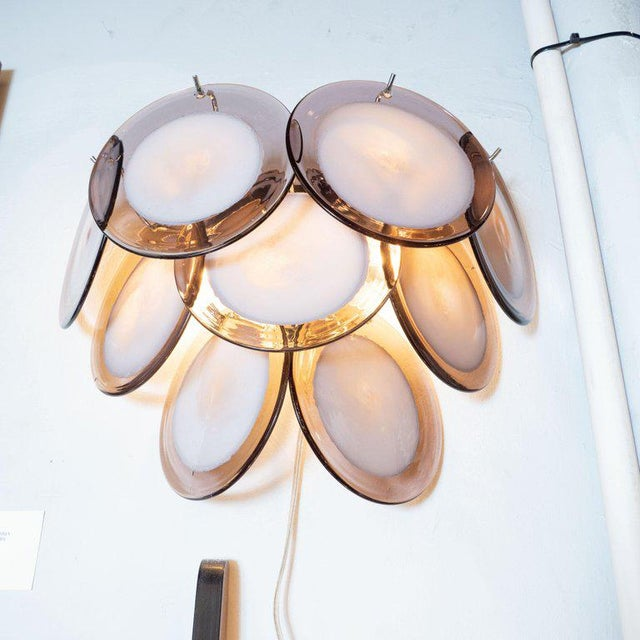 Modernist 9-Disc Hand Blown Murano Amethyst & Translucent Glass Sconces - a Pair For Sale - Image 4 of 6