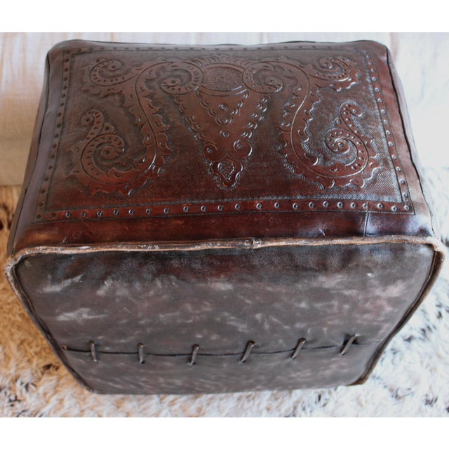 Extra Large Vintage Hand Tooled Peruvian Saddle Leather Angel Pazmino Style Ottoman For Sale - Image 9 of 12