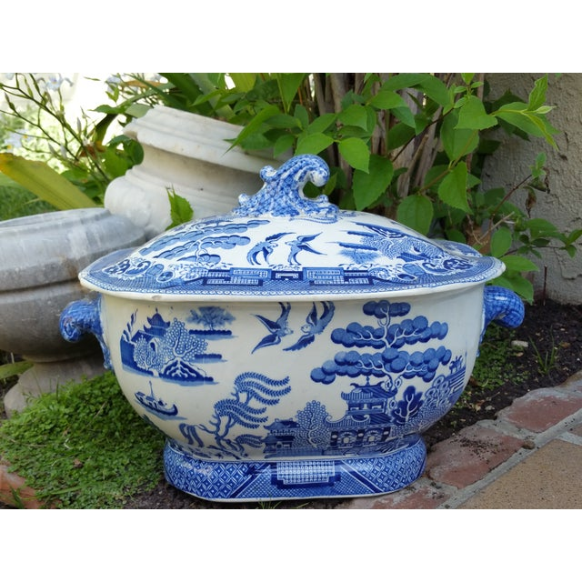 Antique English Victorian Blue & White Soup Tureen - Image 3 of 6