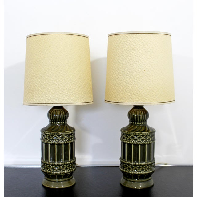 Mid-Century Modern Mid Century Modern Small Pair of Ceramic Table Lamps 1960s Green Original Shades For Sale - Image 3 of 6