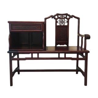 Chinese Carved Wood Telephone Table Bench For Sale