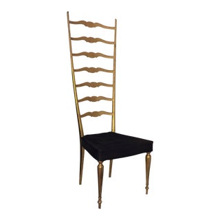 Paolo Buffa Attributed Italian Gilded Exaggerated Ladder Back Chair For Sale