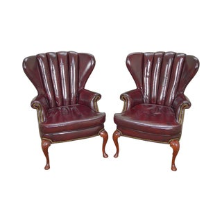 Old Hickory Tannery Oxblood Leather Channel Back Wing Chairs - a Pair