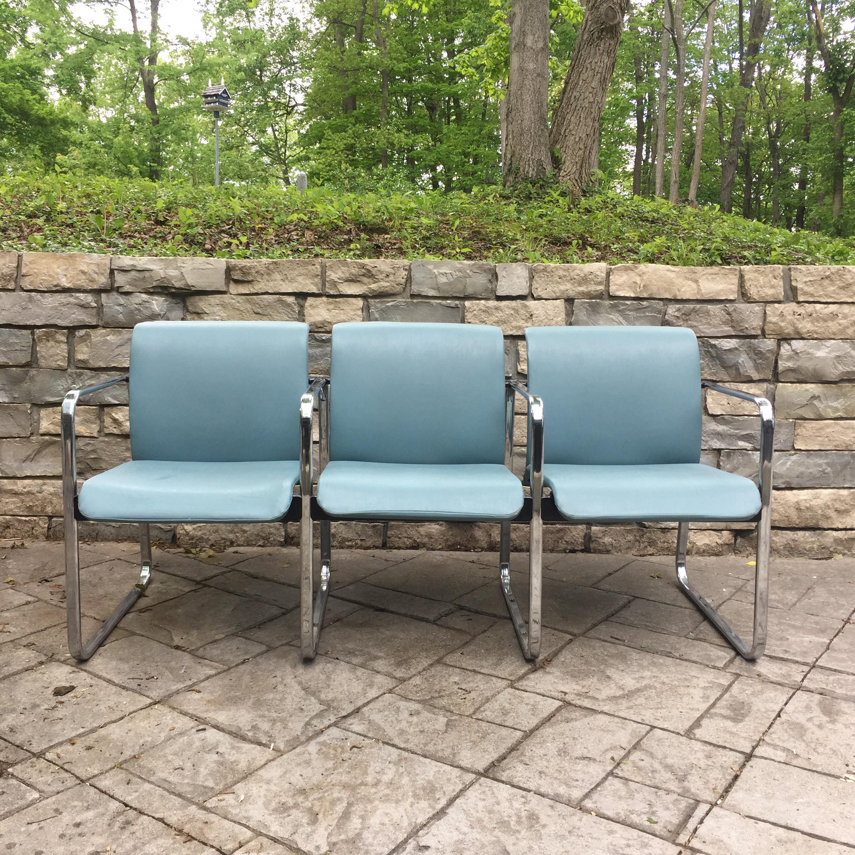 Herman Miller Tubular Chrome U0026 Vinyl Chair Bench   Image 2 ...