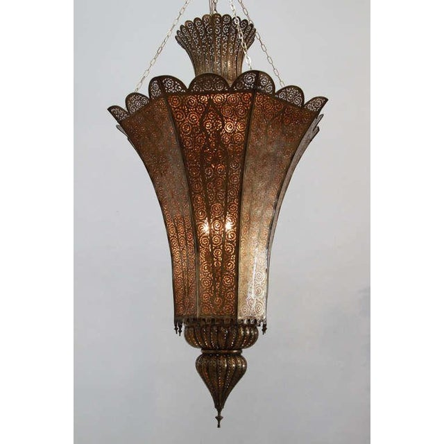 Oversized Moroccan Moorish Brass Chandelier For Sale - Image 10 of 10