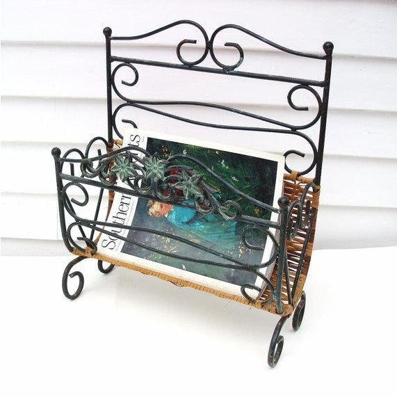 Contemporary Wrought Iron & Rattan Magazine Basket For Sale - Image 3 of 6