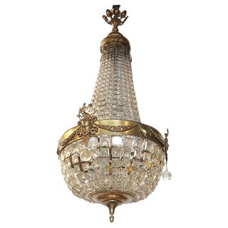 19th C. French Bronze and Crystal Chandelier For Sale