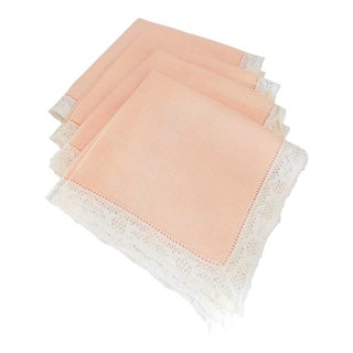 Vintage Peach Linen and Lace Cocktail/Lunch Napkins - Set of Four For Sale