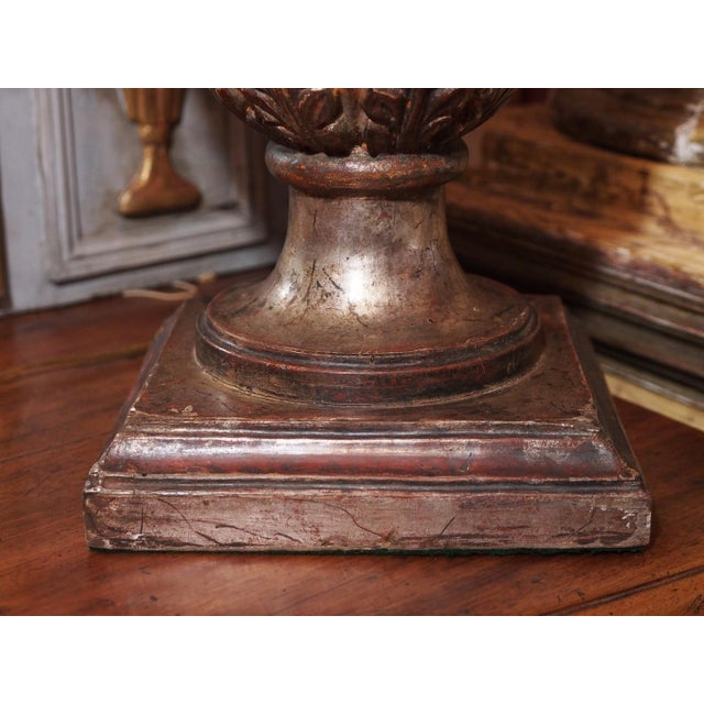 Wood Pair of Vintage Italian Silver Leaf Carved Wood Lamps For Sale - Image 7 of 7