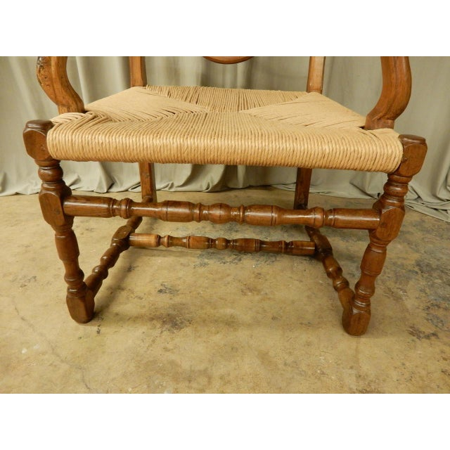 19th Century French Provincial Armchair W/Rush Seat For Sale - Image 4 of 6