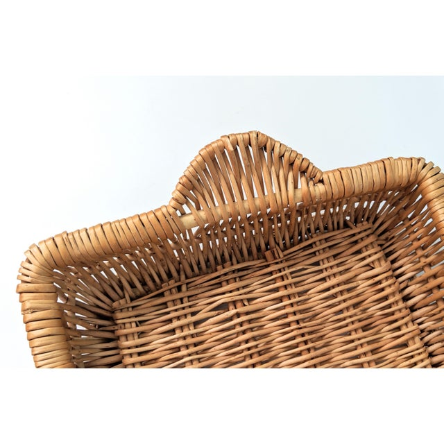 Tan Vintage Boho Chic Wicker Tray Basket For Sale - Image 8 of 9