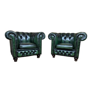 Vintage Mid-Century English Green Leather Chesterfield Club Chairs - a Pair For Sale