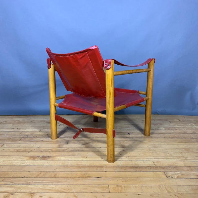 Red Leather and Birch Safari Chair, 1980s For Sale - Image 4 of 9